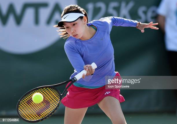 Mayo Hibi returns a shot during a semifinal match against Sofya Zhuk during the Oracle Challenger Series played at the Newport Beach Tennis Club in...