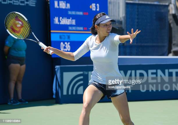 Mayo Hibi sets to meet a serve from Maria Sakkari during Round 2 of the Singles match of the Mubadala Silicon Valley Classic on Wednesday, July 31,...