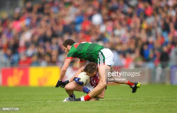 Mayo Ireland 13 May 2018 Tom Parsons of Mayo during a coming together with Eoghan Kerin of Galway during the Connacht GAA Football Senior...