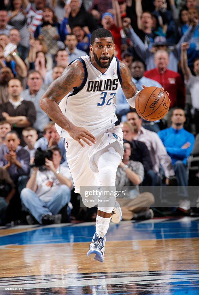 O.J. Mayo #32 of the Dallas Mavericks drives against the Portland Trail Blazers on February 6, 2013 at the American Airlines Center in Dallas, Texas.