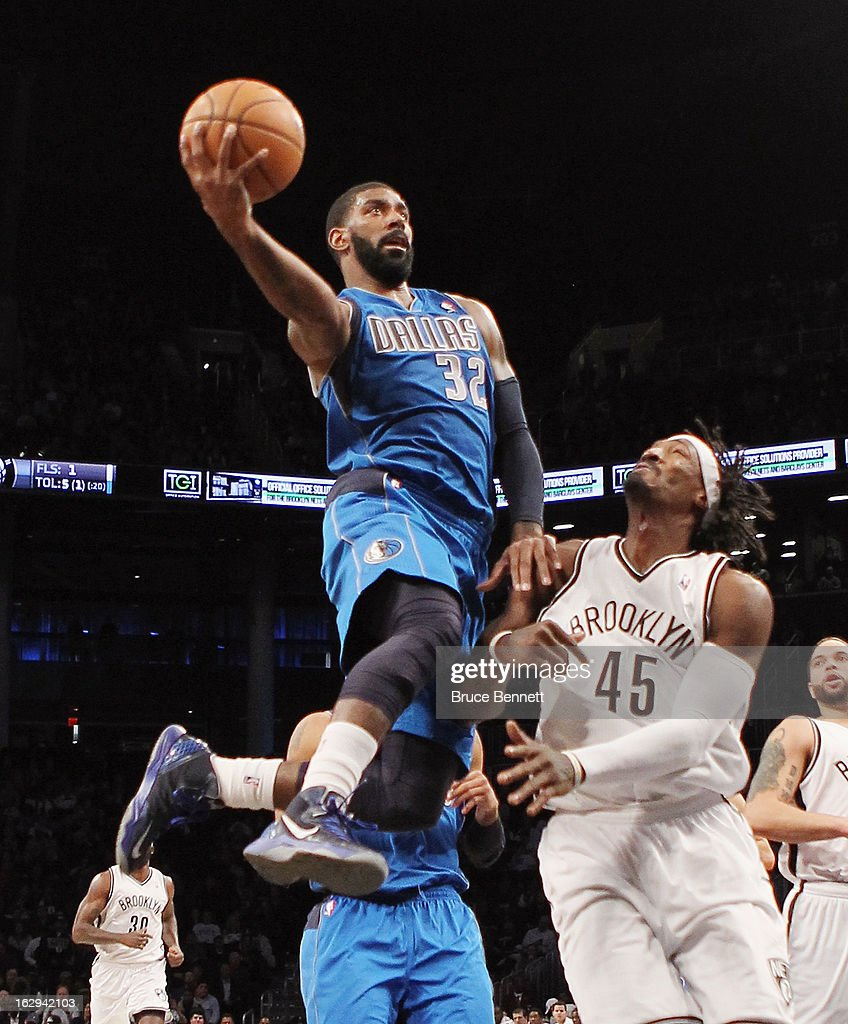 O.J. Mayo #32 of the Dallas Mavericks goes up but misses a basket in the first quarter against the Brooklyn Nets at the Barclays Center on March 1, 2013 in New York City.