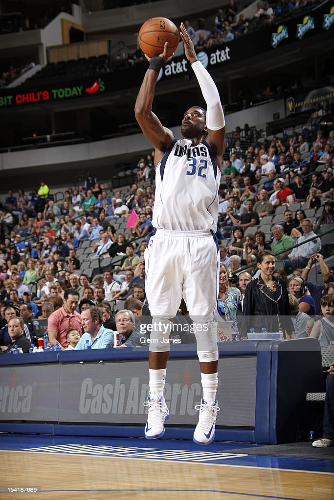 O.J. Mayo #32 of the Dallas Mavericks shoots a jumper against the Houston Rockets on October 15, 2012 at the American Airlines Center in Dallas, Texas.