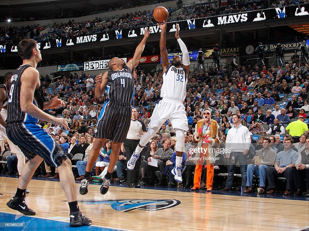 O.J. Mayo #32 of the Dallas Mavericks takes a shot against the Orlando Magic on February 20, 2013 at the American Airlines Center in Dallas, Texas.