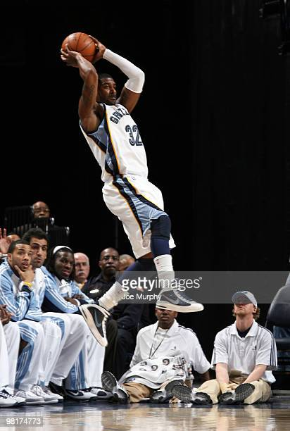 J Mayo of the Memphis Grizzlies jumps to save a loose ball against the Dallas Mavericks on March 31 2010 at FedExForum in Memphis Tennessee NOTE TO...