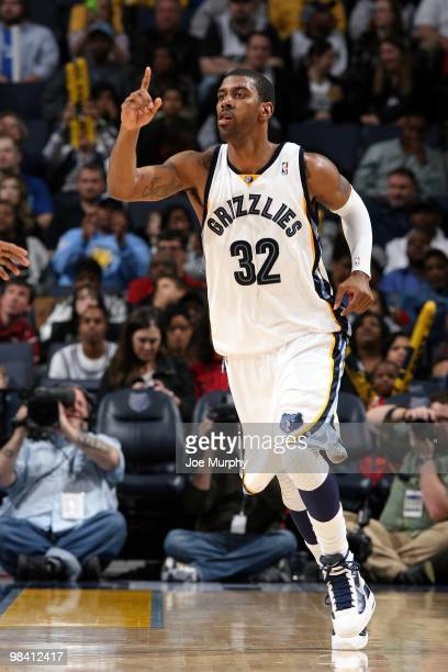 J Mayo of the Memphis Grizzlies moves up court during the game against the San Antonio Spurs at the FedExForum on March 6 2010 in Memphis Tennessee...