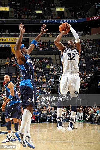 J Mayo of the Memphis Grizzlies shoots a jump shot against Jason Terry of the Dallas Mavericks during the game at the FedExForum on March 31 2010 in...