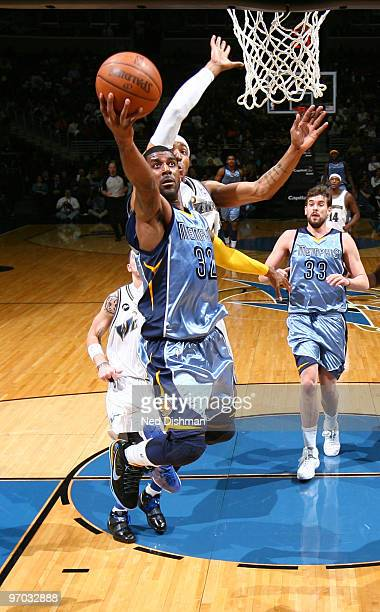 J Mayo of the Memphis Grizzlies shoots against James Singleton of the Washington Wizards at the Verizon Center on February 24 2010 in Washington DC...