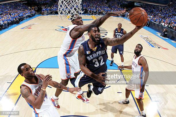 J Mayo of the Memphis Grizzlies shoots against Serge Ibaka of the Oklahoma City Thunder in Game One of the Western Conference Semifinals in the 2011...