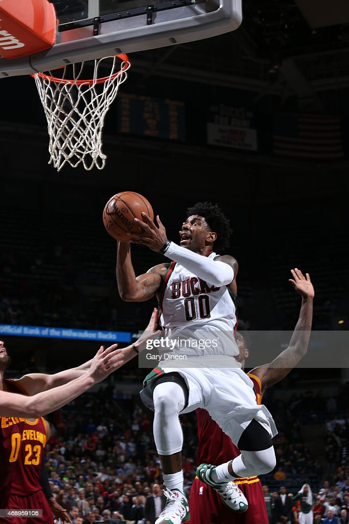 O.J. Mayo #00 of the Milwaukee Bucks goes up for a shot against the Cleveland Cavaliers on April 8, 2015 at BMO Harris Bradley Center in Milwaukee, Wisconsin.
