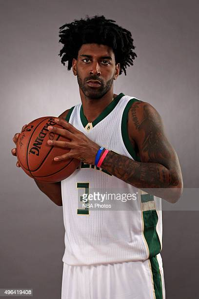 J Mayo of the Milwaukee Bucks poses for a portrait during Media Day on November 8 2015 at the Orthopaedic Hospital of Wisconsin Training Center in St...