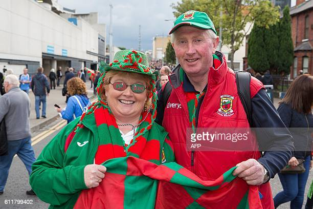 Mayo supporters Sally and Eugene Lavin pose for a photograph outside Croke Park ahead of the GAA AllIreland Gaelic Football Final replay match...