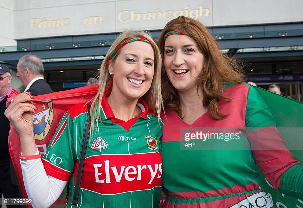 Mayo supporters sisters Geri and Lorraine Hughes pose for a photograph outside Croke Park ahead of the GAA AllIreland Gaelic Football Final replay...