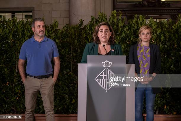 Mayor Ada Colau is seen accompanied by the First Deputy Mayor Jaume Collboni and the city councilor Elisenda Alamany during the reception of LGBTI...