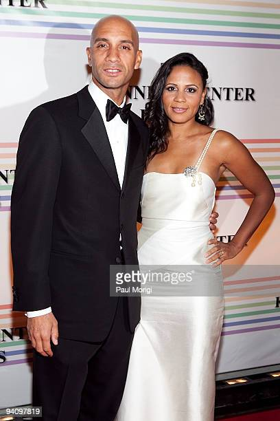 Mayor Adrian Fenty and Michelle Fenty arrive at the 32nd Kennedy Center Honors at Kennedy Center Hall of States on December 6 2009 in Washington DC