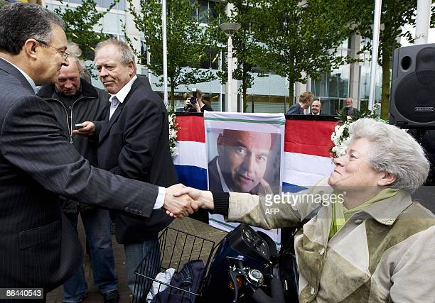 Mayor Ahmed Aboutaleb of Rotterdam shakes hands with a Pim Fortuyn follower during the memorial service of the rightwing antiimmigration politician...