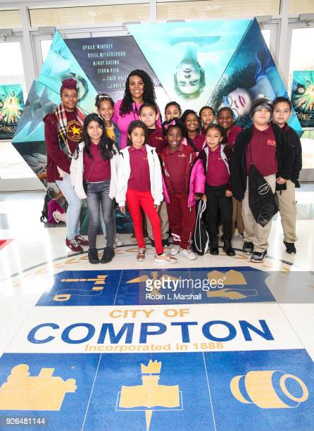 Mayor Aja Brown and students from the Barack Obama Charter School attend Disney's A Wrinkle In Time at Douglas F Dollarhide Community Center on March...