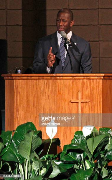 Mayor Andrew Gillum addresses supporters and urges that they keep politically engaged as the Broward County of Supervisor of Elections Office...