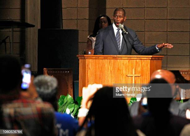 Mayor Andrew Gillum gets a standing ovation while addressing supporters and urging them to keep politically engaged as the Broward County of...