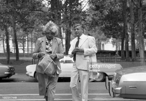 Mayor Angelo Errichetti accompanied by his wife arrives at US District Court in Brooklyen where he and three others will go on trial the first to...