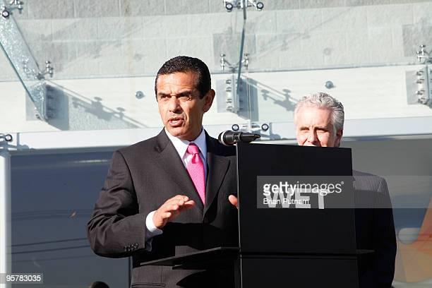 Mayor Antonio Villaraigosa and Councilman Paul Krekorian attend the unveiling of WET's new facility at Idea Playground on January 14, 2010 in Sun...