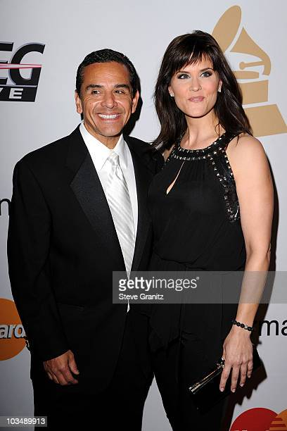 Mayor Antonio Villaraigosa and news reporter Lu Parker arrive at the 52nd Annual GRAMMY Awards Salute To Icons Honoring Doug Morris held at The...
