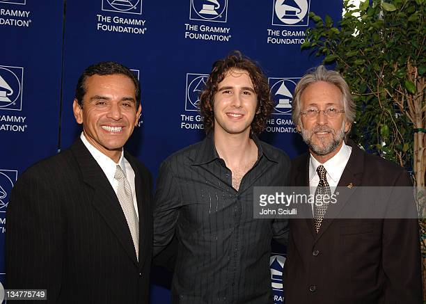 Mayor Antonio Villaraigosa, Josh Groban and Neil Portnow of NARAS