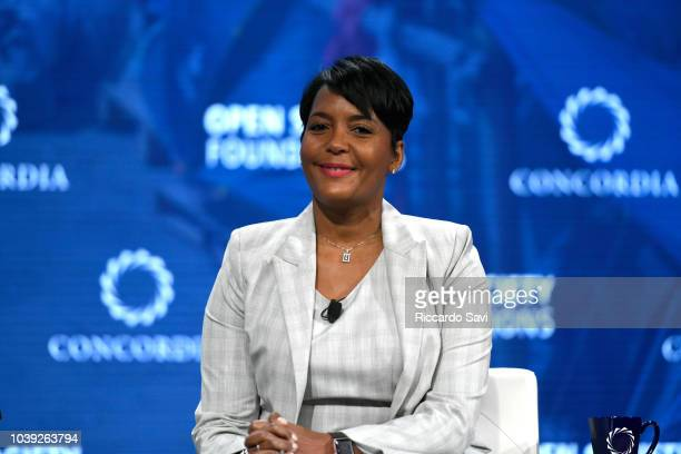 Mayor Atlanta Georgia Hon Keisha Lance Bottoms speaks onstage during the 2018 Concordia Annual Summit Day 1 at Grand Hyatt New York on September 24...