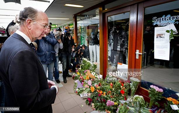 Mayor Bas Eenhoorn stands in front of the clothing shop at the shopping mall 'De Ridderhof' in Alphen aan den Rijn on April 12 2011 Most of the shops...