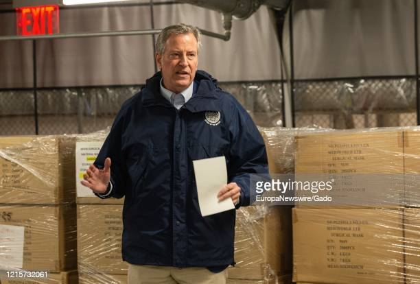 Mayor Bill de Blasio along with Penny Abeywardena NY Commissioner for International Affairs and James Hynes Supervisor Material Management Team for...