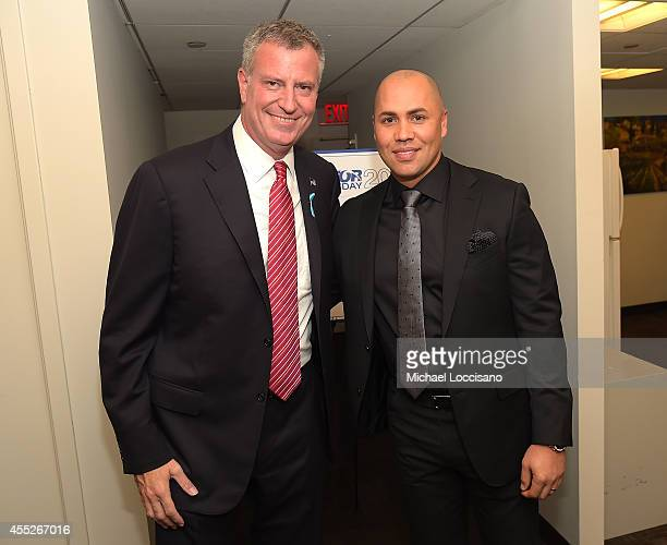 Mayor Bill de Blasio and Carlos Beltran attend Annual Charity Day Hosted By Cantor Fitzgerald nd BGC at Cantor Fitzgerald on September 11 2014 in New...