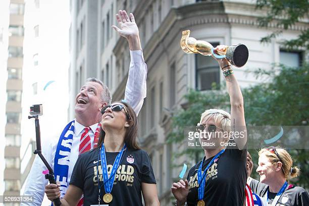 NYC Mayor Bill de Blasio and First Lady Chirlane McCray with US Women's National Soccer Team Head Coach Jill Ellis and players Megan Rapinoe and...