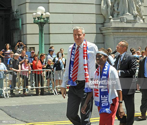 Mayor Bill De Blasio and New York City First Lady Chirlane McCray during the New York City Holds Ticker Tape Parade For World Cup Champions US...