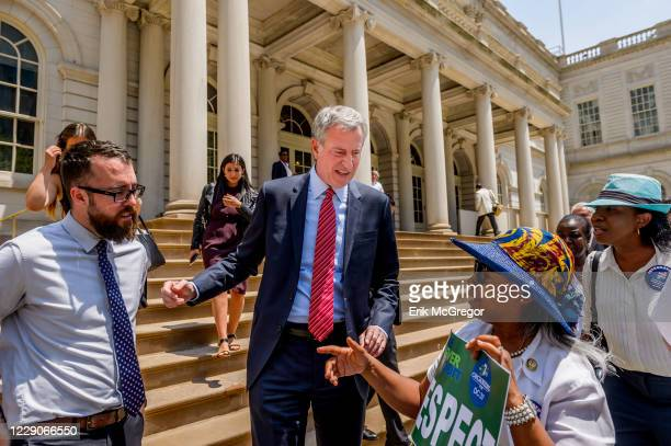 Mayor Bill De Blasio arrives to City Hall and greets New Yorkers. Bill de Blasio is the Mayor of New York, the citys first Democratic leader in more...