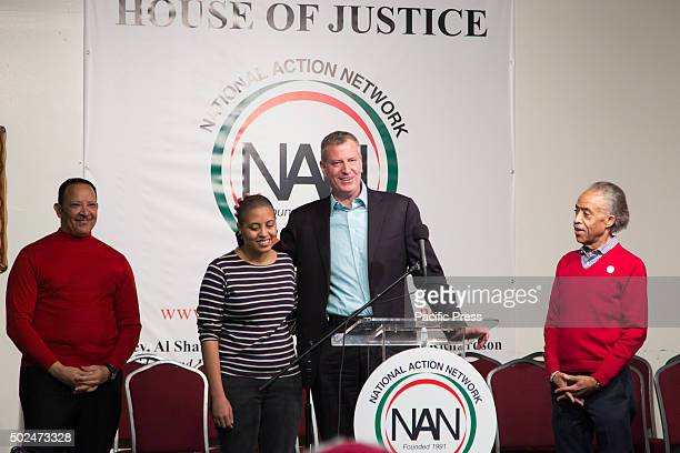 Mayor Bill de Blasio attended the National Action Networks annual Christmas day toy give away community meal for the hungry The Mayor Chiara de...