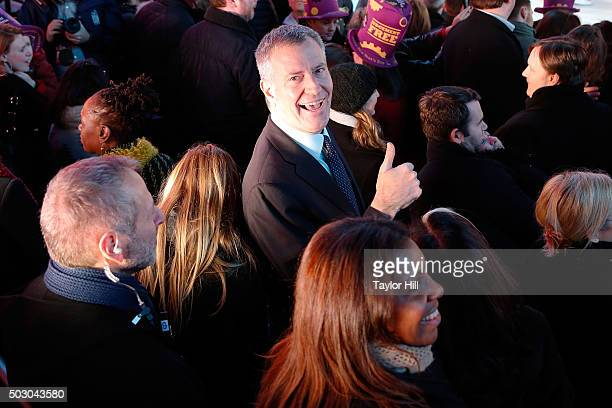 Mayor Bill de Blasio attends Dick Clark's New Year's Rockin' Eve at Times Square on December 31 2015 in New York City