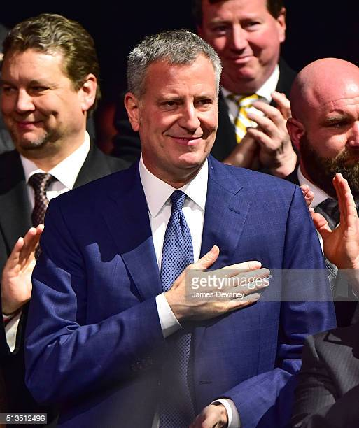 Mayor Bill de Blasio attends Hillary Clinton's PostSuper Tuesday Rally at The Jacob K Javits Convention Center on March 2 2016 in New York City