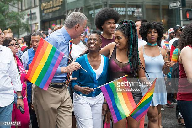 Mayor Bill de Blasio, Chirlane McCray, Dante de Blasio and Chiara de Blasio attend the New York City Pride March on June 28, 2015 in New York City.