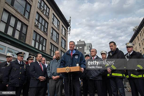 Mayor Bill de Blasio flanked by federal and city officials speaks with the press following the active shooter counter terrorism drill NYC first...