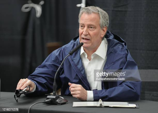 Mayor Bill de Blasio greets healthcare workers and conducts a press conference at the USTA Billie Jean King National Tennis Center, New York, April...