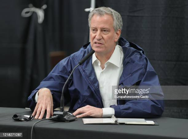 Mayor Bill de Blasio greets healthcare workers and conducts a press conference at the USTA Billie Jean King National Tennis Center New York April 10...