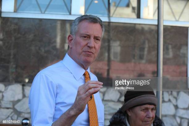 Mayor Bill de Blasio joined Brooklyn's 45th District for a lunch with Brooklyn seniors at the Mirage Diner on King's Highway to promote a 'Mansion...