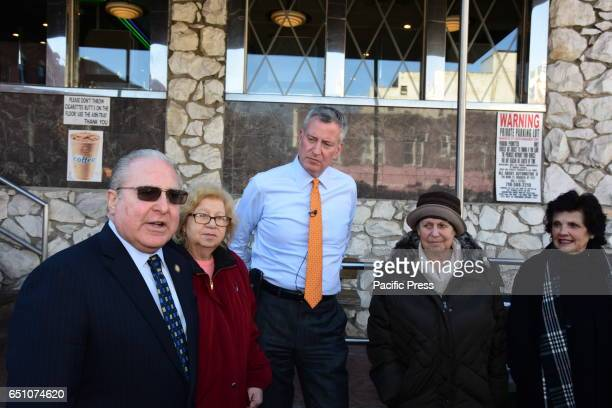 Mayor Bill de Blasio joined NY Assembly Member Steven Cymbrowitz of Brooklyn's 45th District for a lunch with Brooklyn seniors at the Mirage Diner on...