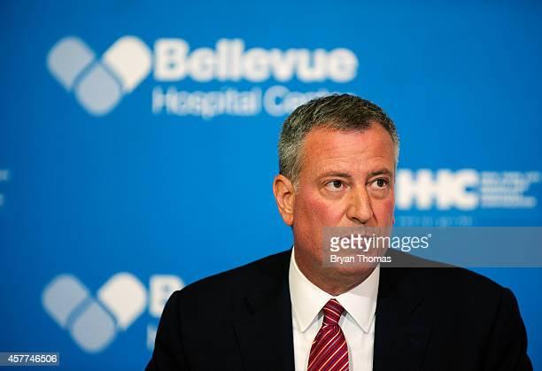 Mayor Bill de Blasio of New York City speaks at a press conference October 23 2014 in New York City Mayor de Blasio addressed Dr Craig Spencer who...