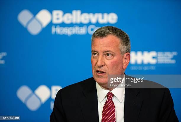 Mayor Bill de Blasio of New York City speaks at a press conference October 23 2014 in New York City Mayor DeBlasio addressed Dr Craig Spencer who had...