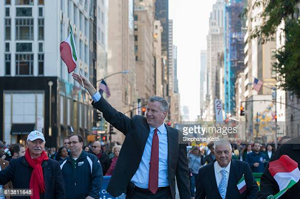 Mayor Bill de Blasio participates in the annual Columbus Day Parade on October 10 2016 in New York City This is the 72nd Columbus Day Parade held in...