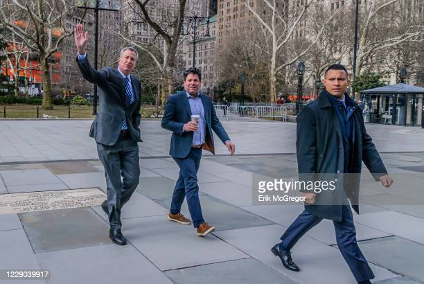 Mayor Bill de Blasio showing solidarity with the protesters - New Yorkers assembled on the steps of City Hall on March 20, 2018; to ask Mayor de...