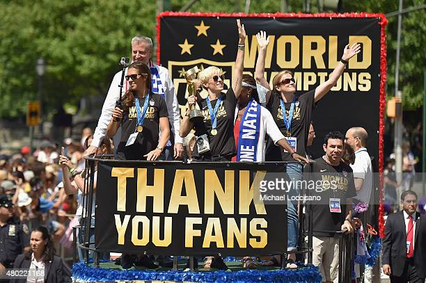 Mayor Bill de Blasio Soccer players Carli Lloyd and Megan Rapinoe Chirlane McCray and US coach Jill Ellis in the New York City Ticker Tape Parade for...