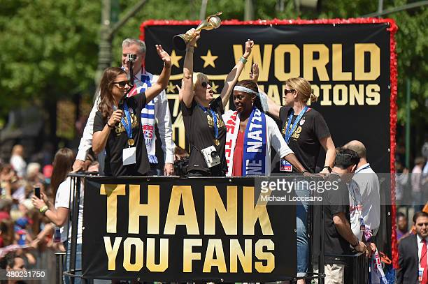 Mayor Bill de Blasio soccer players Carli Lloyd and Megan Rapinoe Chirlane McCray and US Coach Jill Ellis aboard a float in the New York City Ticker...