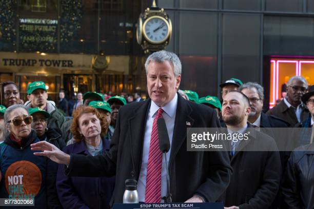 Mayor Bill de Blasio speaks at rally against GOP tax bill in front of Trump Tower on 5th Avenue