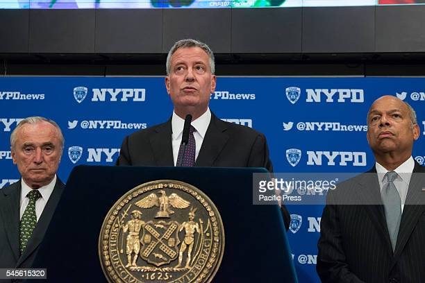 Mayor Bill de Blasio speaks at the press conference Following the shooting in Dallas Texas at a Black Lives Matter civil demonstration US Homeland...